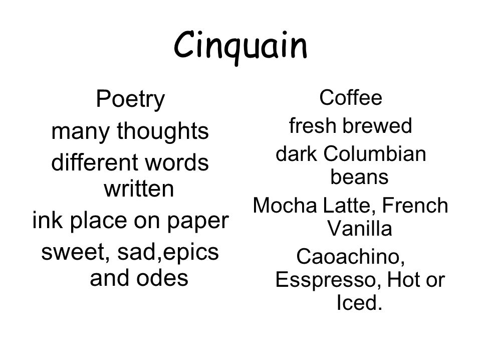Cinquain Poetry many thoughts different words written