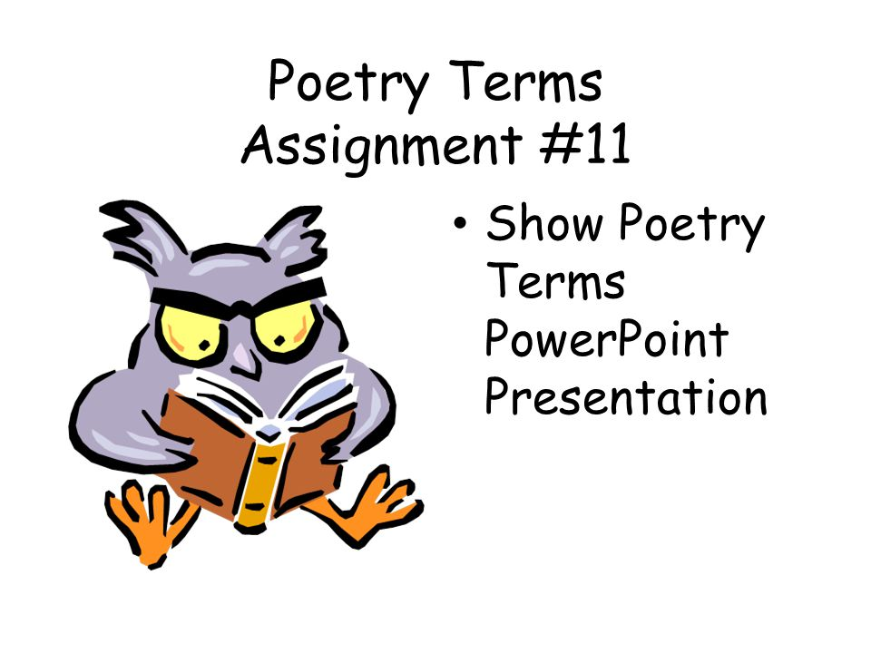 Poetry Terms Assignment #11