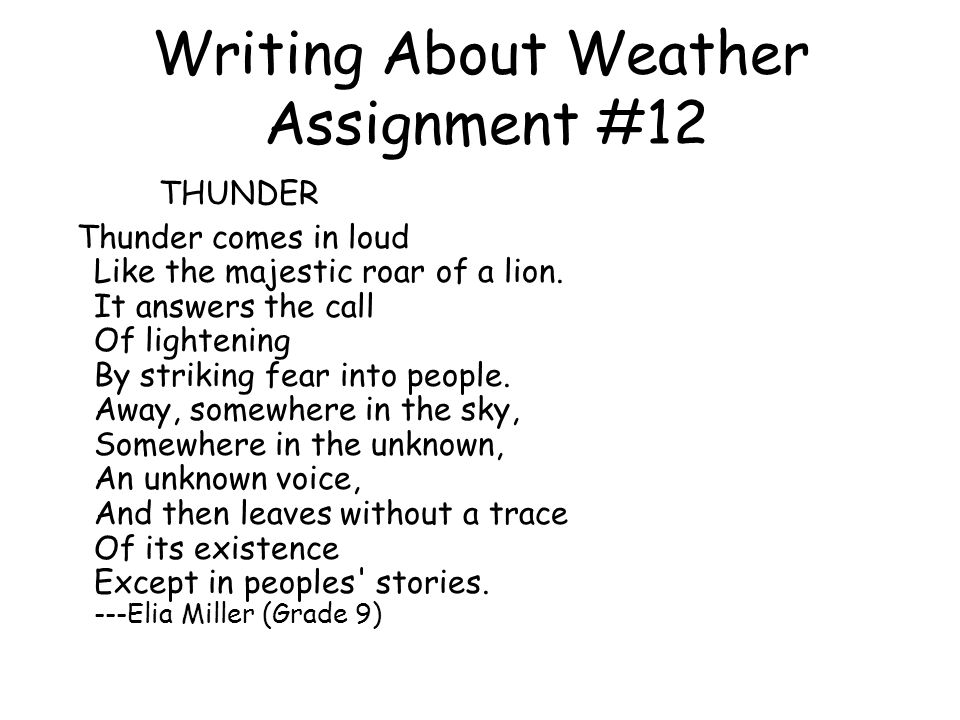 Writing About Weather Assignment #12