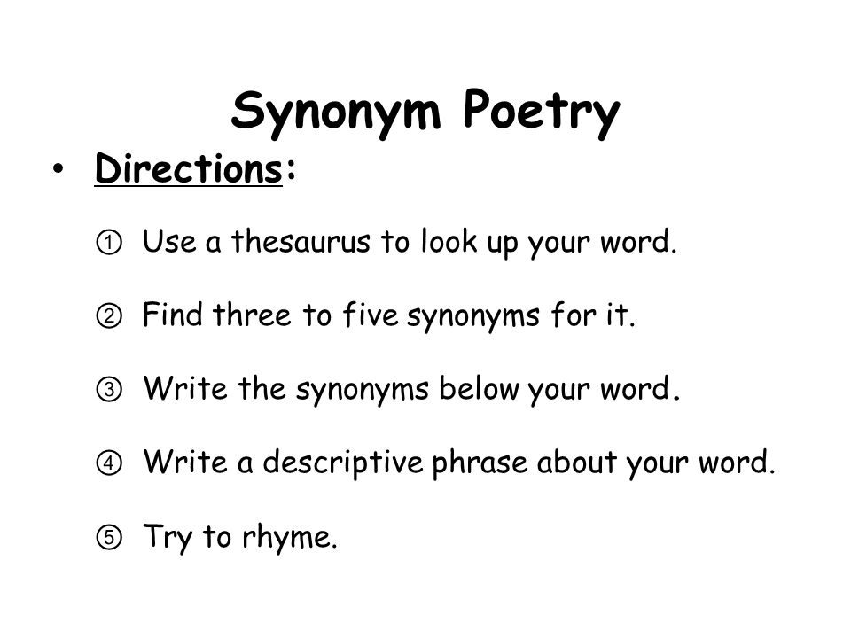 How to write a synonym poem