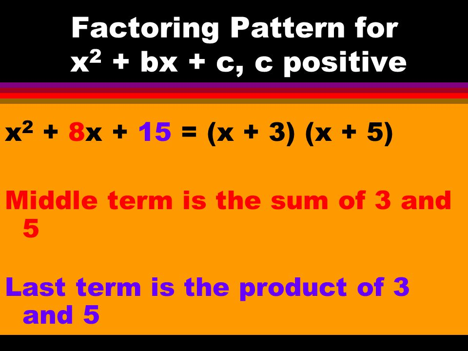 Factoring Pattern for x2 + bx + c, c positive