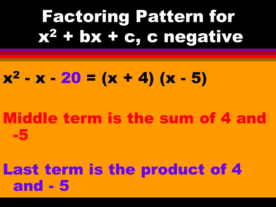Factoring Pattern for x2 + bx + c, c negative