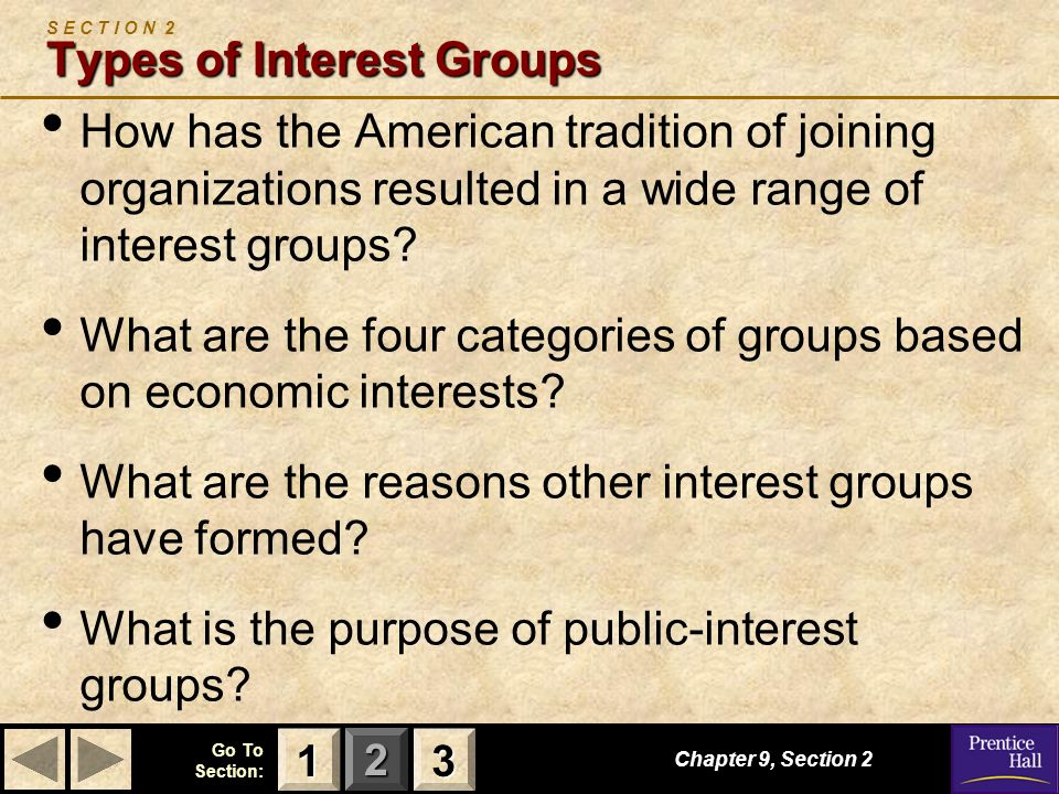S E C T I O N 2 Types of Interest Groups