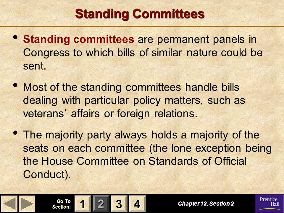 Standing Committees Standing committees are permanent panels in Congress to which bills of similar nature could be sent.