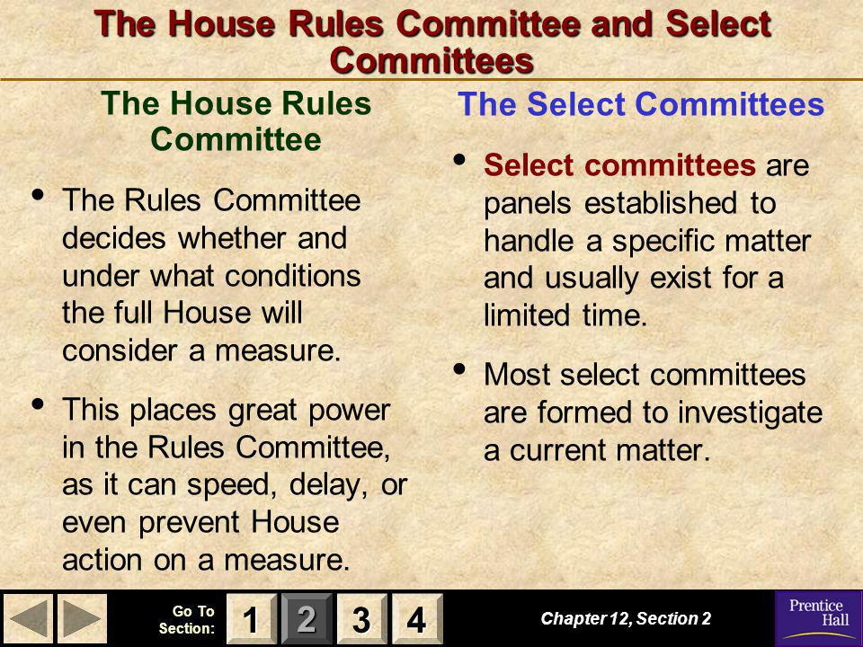 The House Rules Committee and Select Committees
