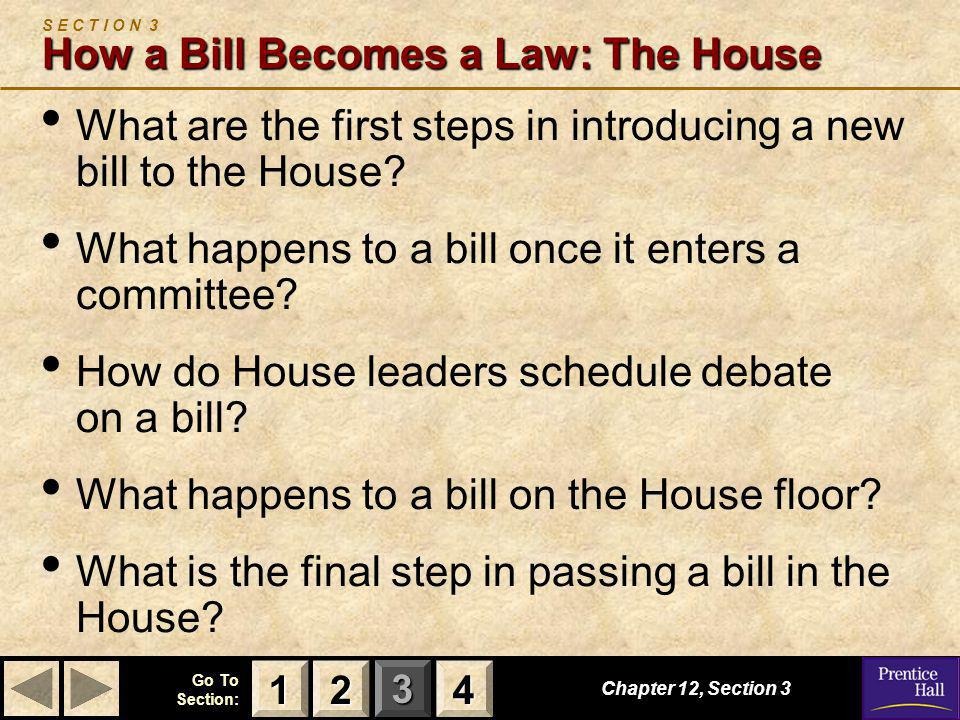 S E C T I O N 3 How a Bill Becomes a Law: The House