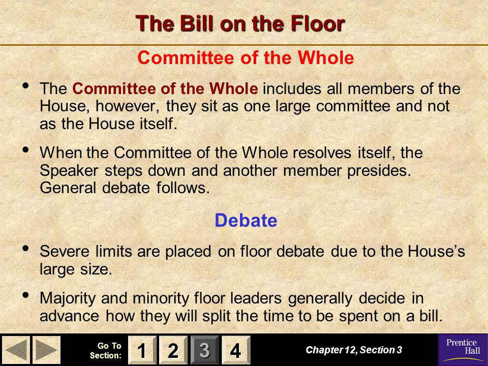 The Bill on the Floor 1 2 4 Committee of the Whole Debate