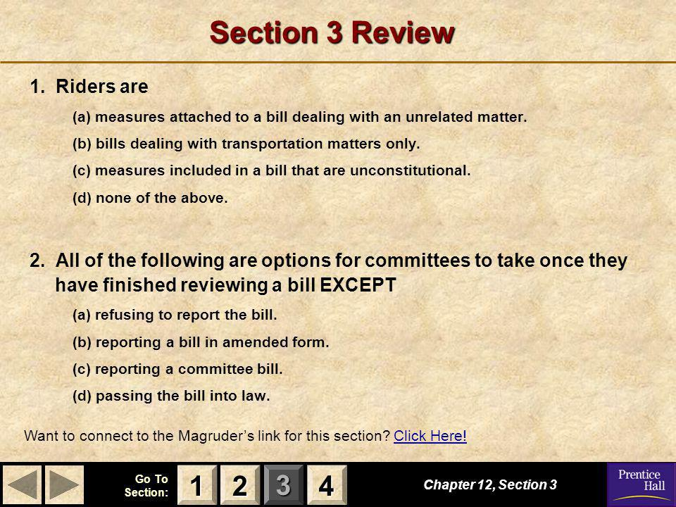 Section 3 Review 1 2 4 1. Riders are