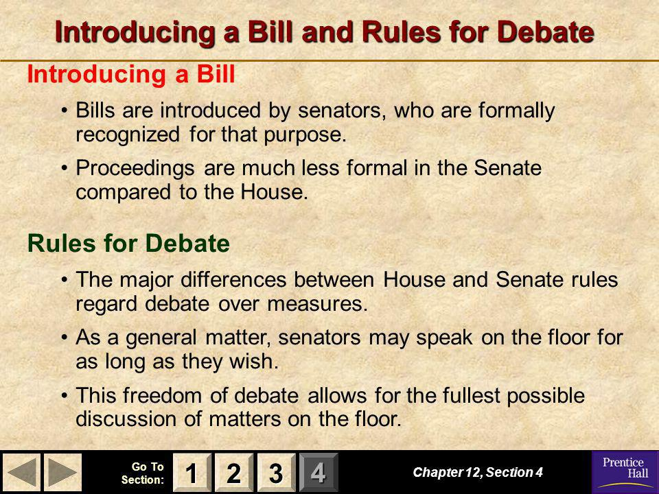 Introducing a Bill and Rules for Debate