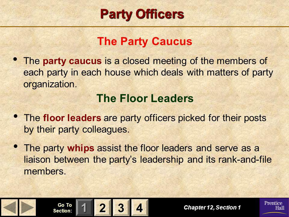 Party Officers 2 3 4 The Party Caucus The Floor Leaders