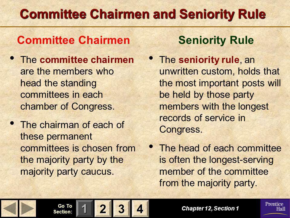 Committee Chairmen and Seniority Rule