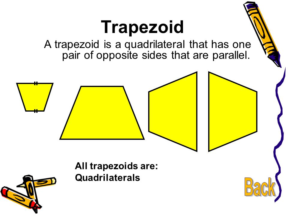 Trapezoid A trapezoid is a quadrilateral that has one pair of opposite sides that are parallel. All trapezoids are: Quadrilaterals.