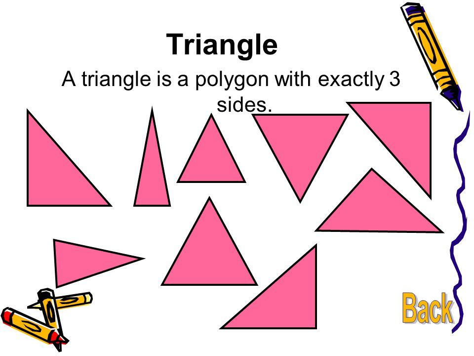 A triangle is a polygon with exactly 3 sides.