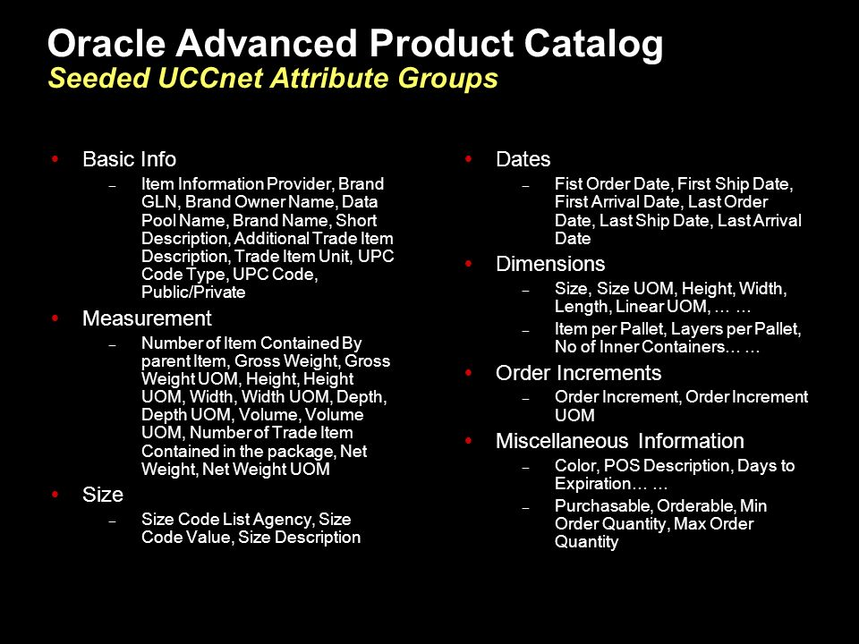 Oracle Advanced Product Catalog Seeded UCCnet Attribute Groups