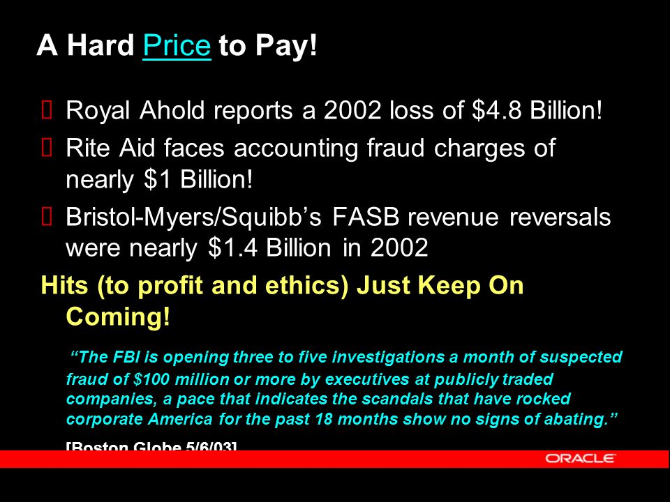 A Hard Price to Pay! Royal Ahold reports a 2002 loss of $4.8 Billion!