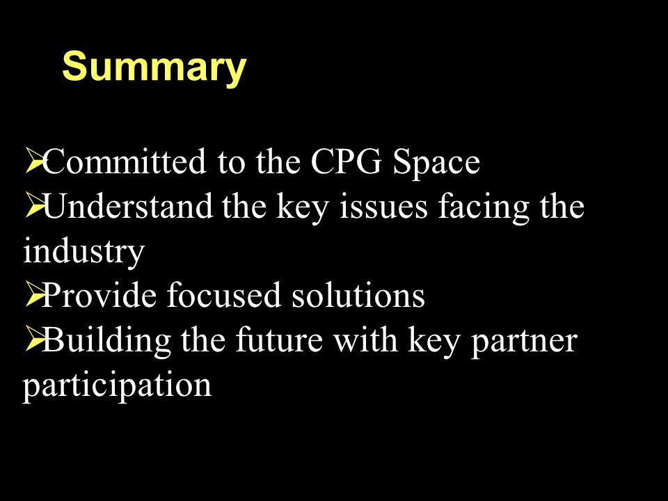 Summary Committed to the CPG Space