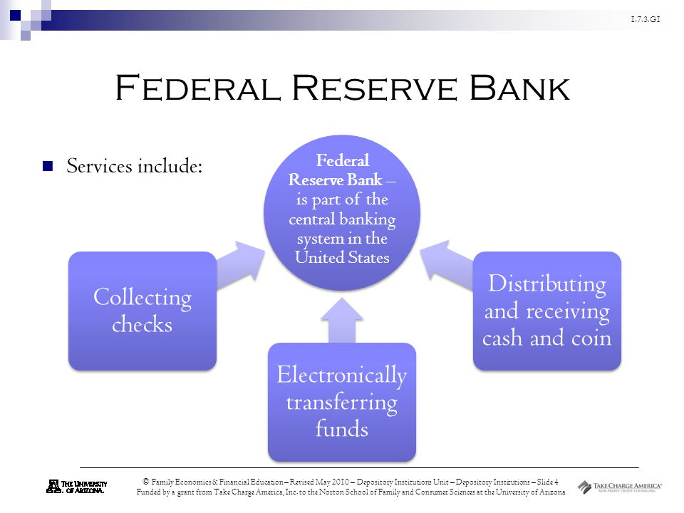 Federal Reserve Bank Distributing and receiving cash and coin