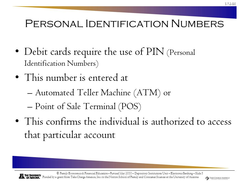 Personal Identification Numbers