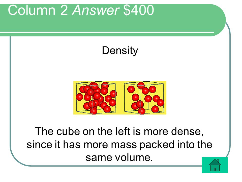 Column 2 Answer $400 Density