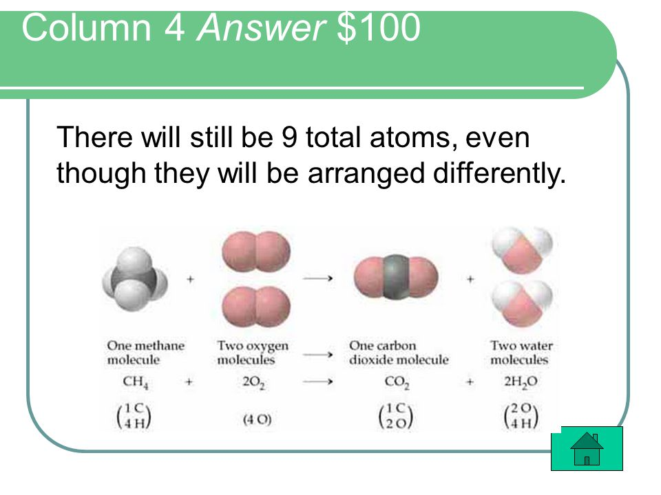 Column 4 Answer $100 There will still be 9 total atoms, even though they will be arranged differently.