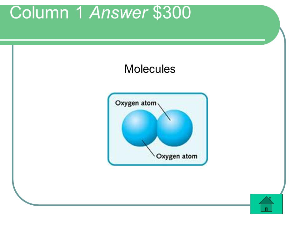 Column 1 Answer $300 Molecules