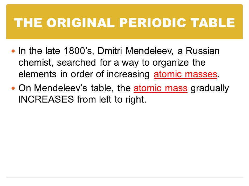 THE ORIGINAL PERIODIC TABLE