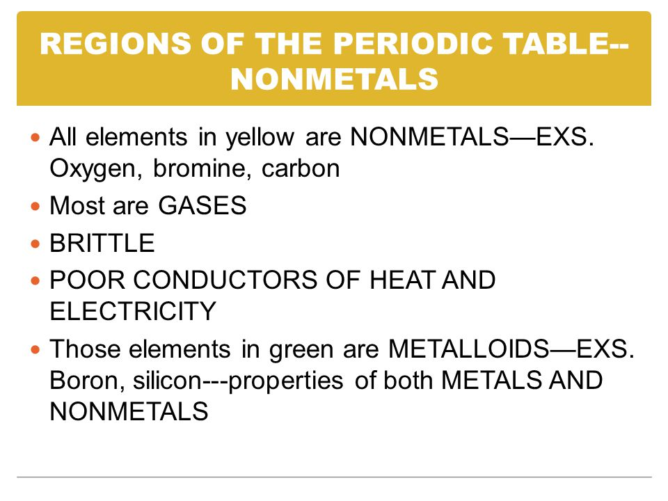 REGIONS OF THE PERIODIC TABLE--NONMETALS