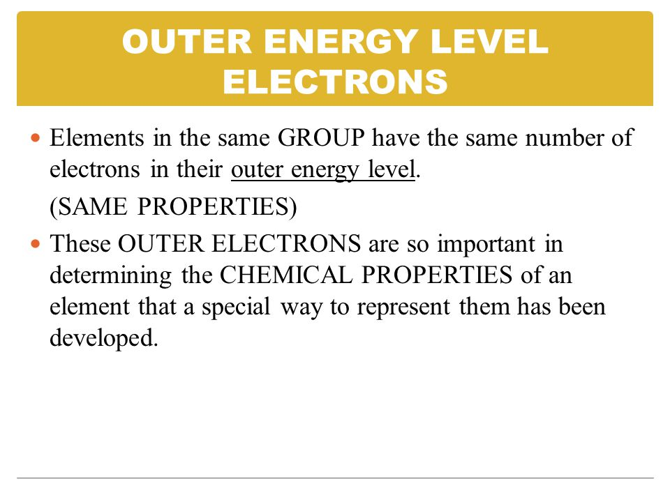 OUTER ENERGY LEVEL ELECTRONS