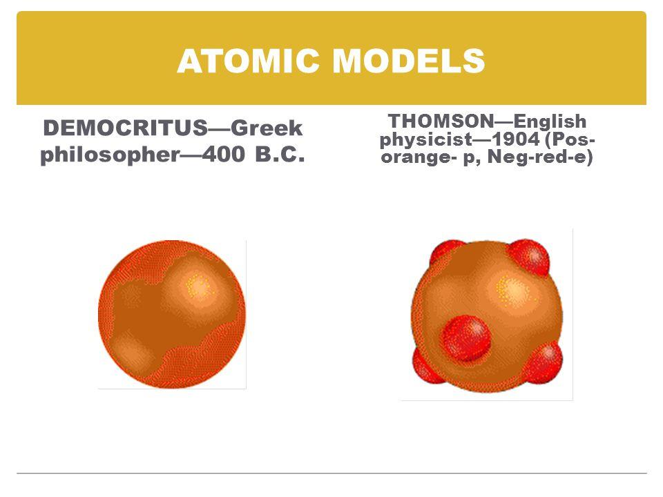 ATOMIC MODELS DEMOCRITUS—Greek philosopher—400 B.C.