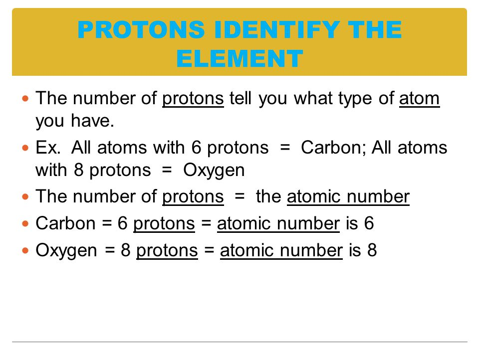 PROTONS IDENTIFY THE ELEMENT