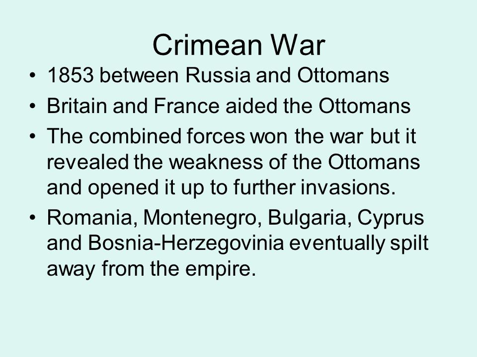 Crimean War 1853 between Russia and Ottomans