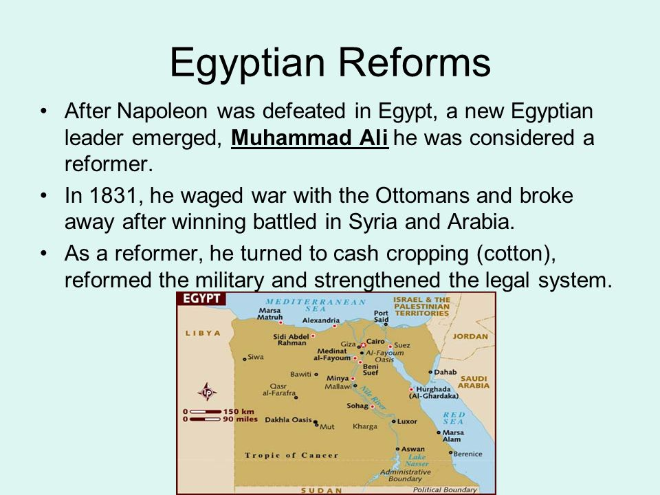 Egyptian Reforms After Napoleon was defeated in Egypt, a new Egyptian leader emerged, Muhammad Ali he was considered a reformer.