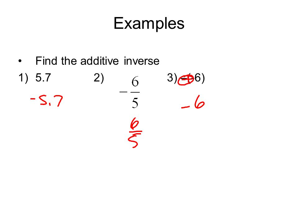 Examples Find the additive inverse 5.7 2) 3) –(-6)