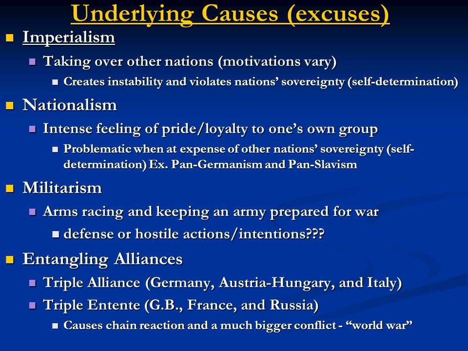 Underlying Causes (excuses)