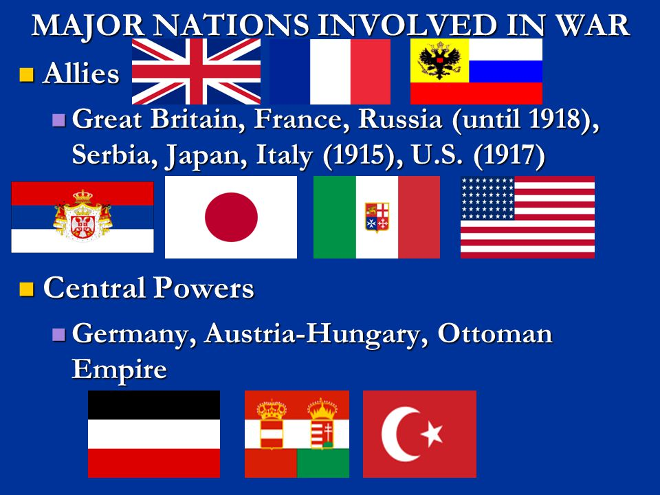 MAJOR NATIONS INVOLVED IN WAR