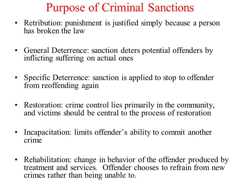 Purpose of Criminal Sanctions