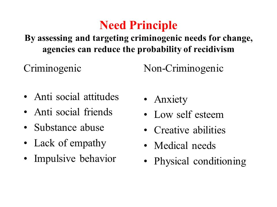 Need Principle By assessing and targeting criminogenic needs for change, agencies can reduce the probability of recidivism