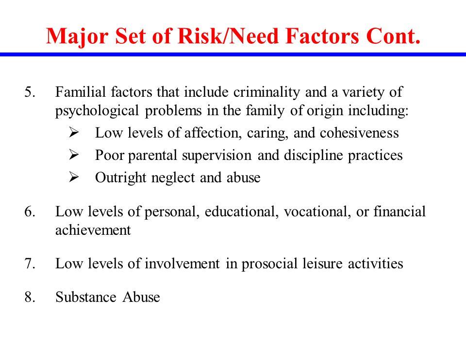 Major Set of Risk/Need Factors Cont.
