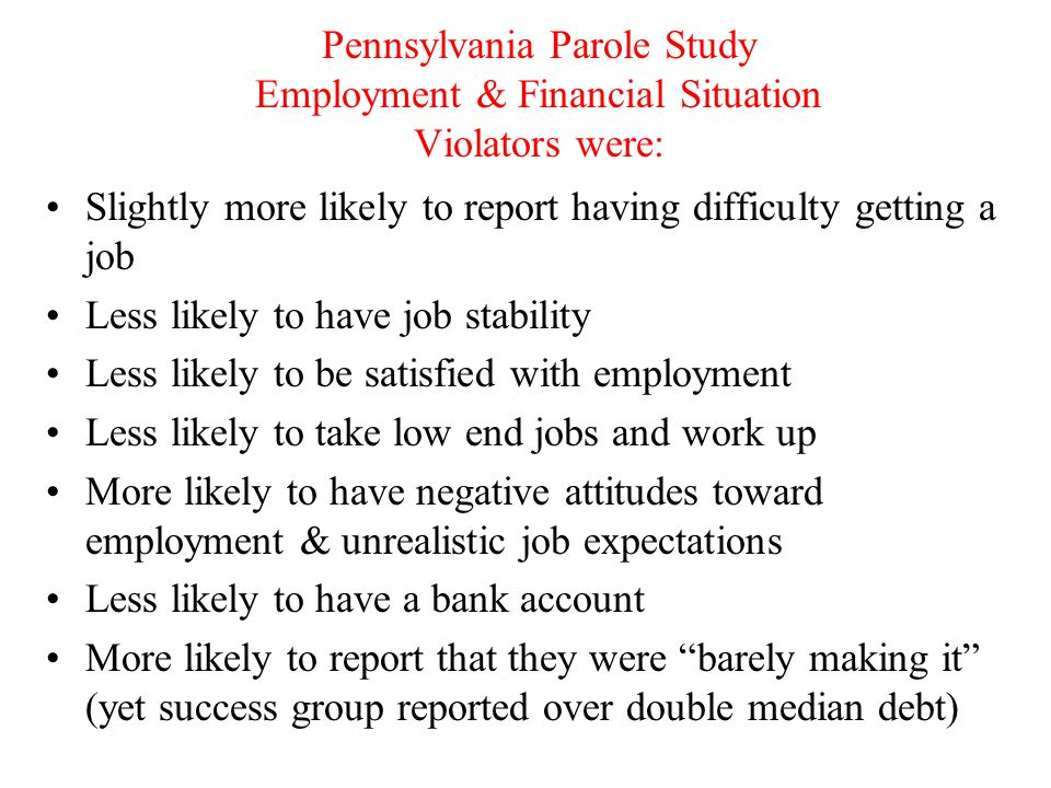 Pennsylvania Parole Study Employment & Financial Situation Violators were: