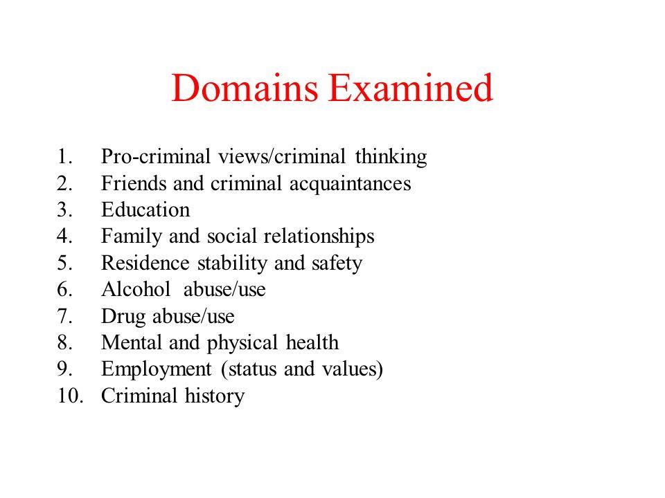Domains Examined Pro-criminal views/criminal thinking