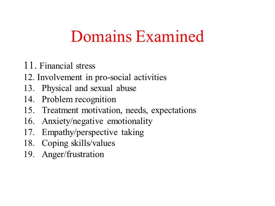Domains Examined 11. Financial stress