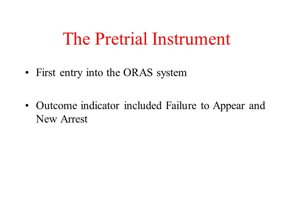 The Pretrial Instrument