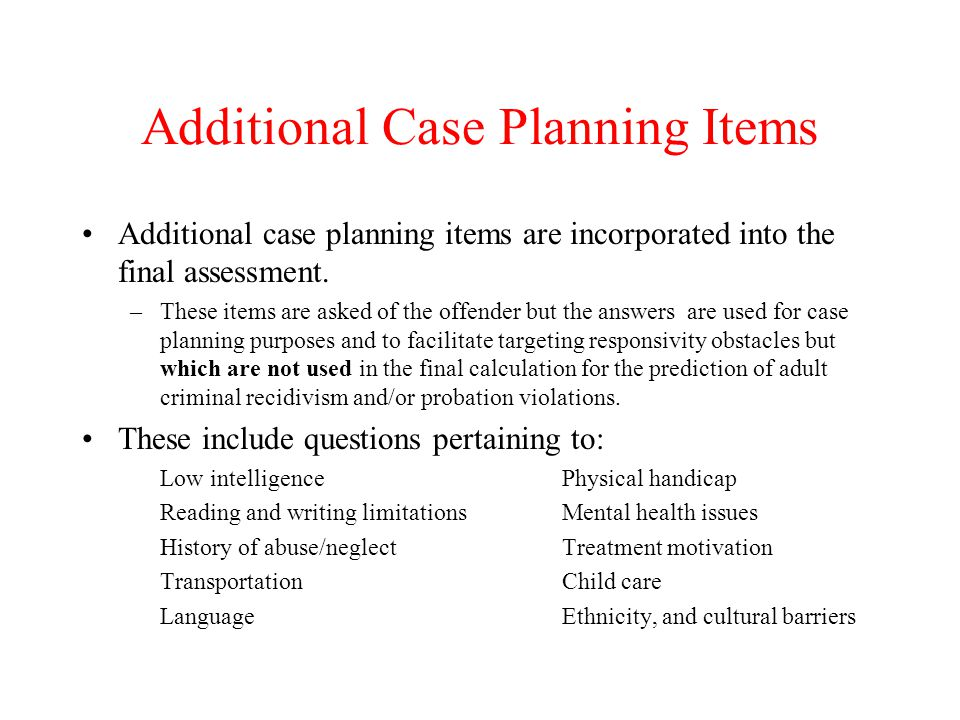 Additional Case Planning Items