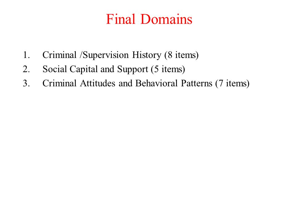 Final Domains Criminal /Supervision History (8 items)