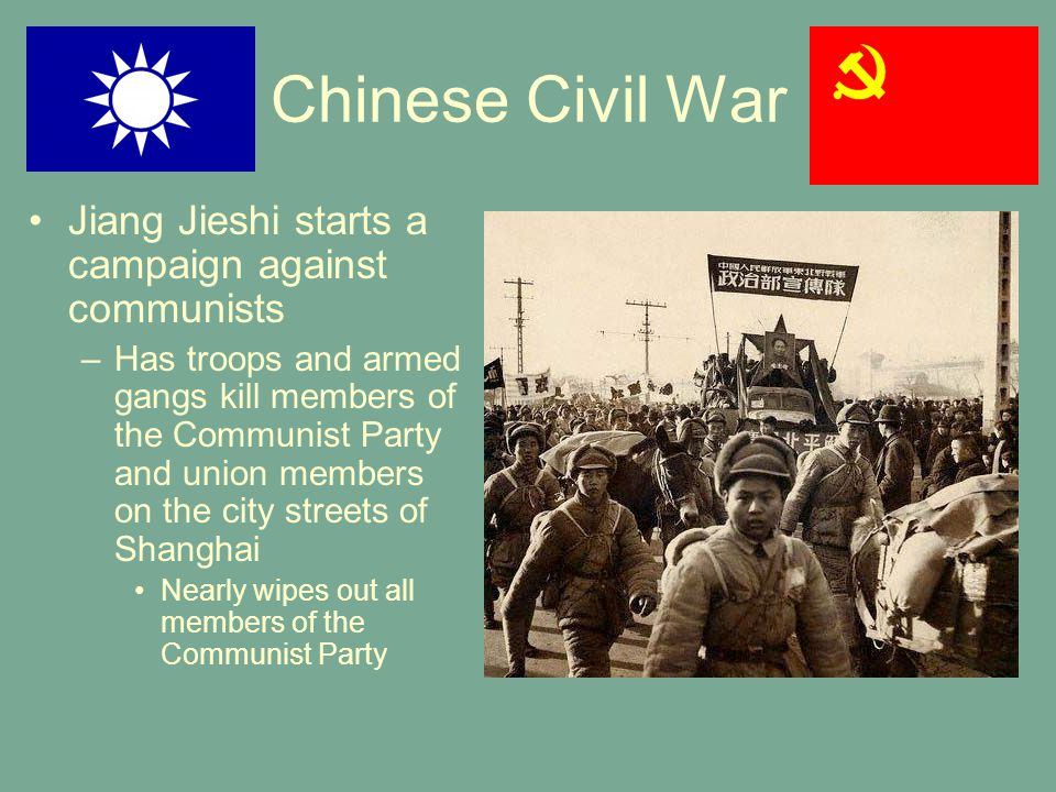 Chinese Civil War Jiang Jieshi starts a campaign against communists