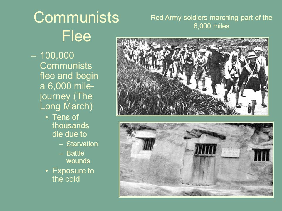 Red Army soldiers marching part of the 6,000 miles