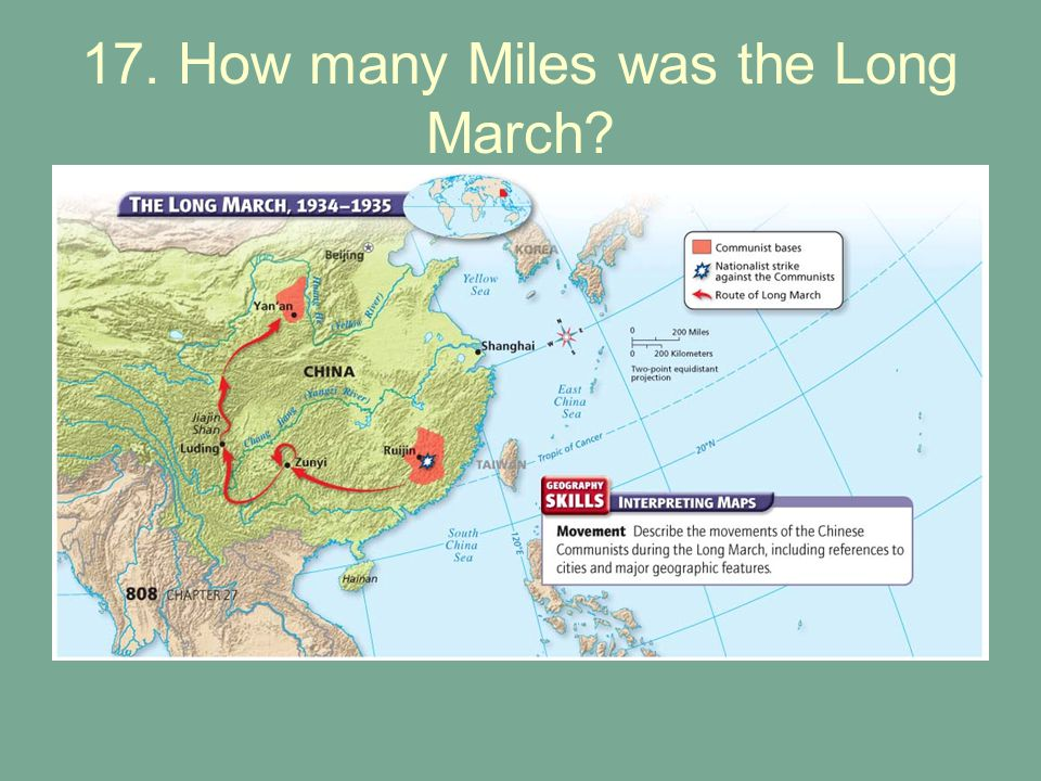 17. How many Miles was the Long March