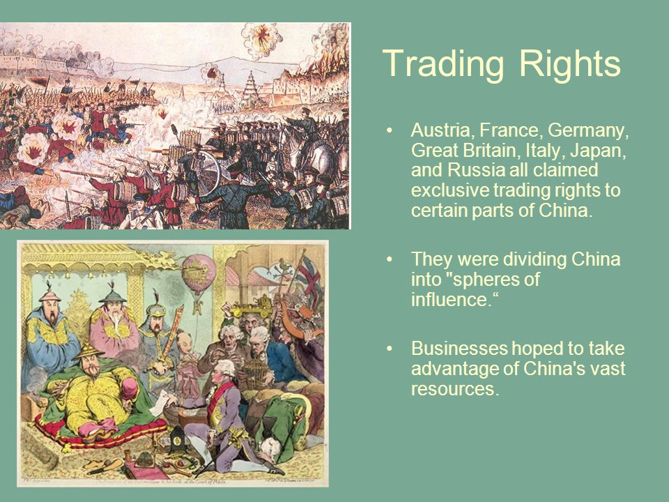 Trading Rights Austria, France, Germany, Great Britain, Italy, Japan, and Russia all claimed exclusive trading rights to certain parts of China.