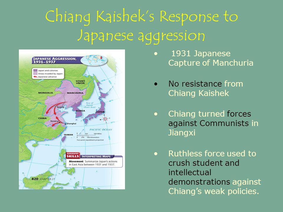 Chiang Kaishek's Response to Japanese aggression