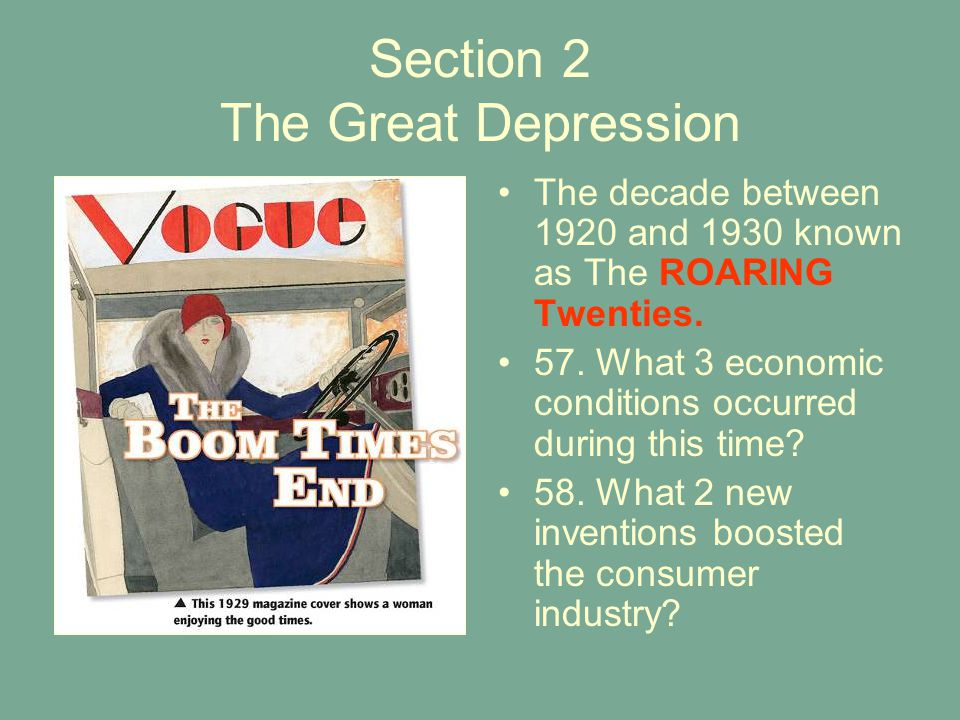 Section 2 The Great Depression